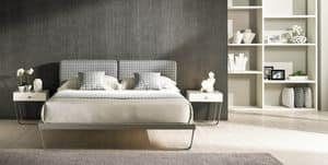 Space 01, Iron bed with headboard padded with cushions