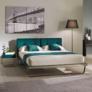 Space 02, Iron padded double bed, with simple lines