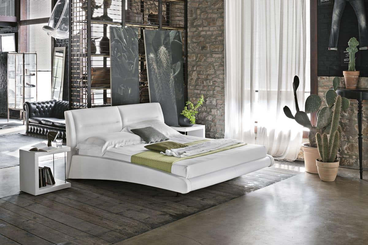 STROMBOLI BD439, Double bed with leather covering suited for modern bedrooms
