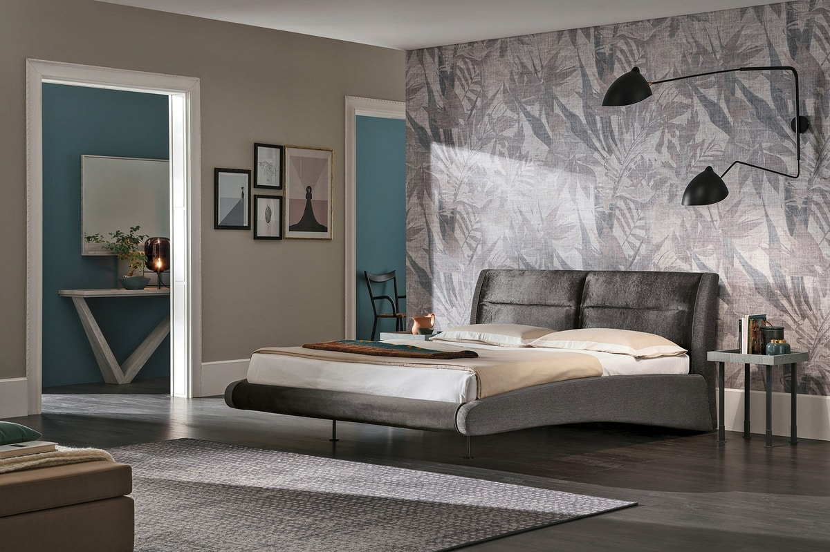 STROMBOLI KB439, Double bed with upholstered structure ideal for modern bedrooms