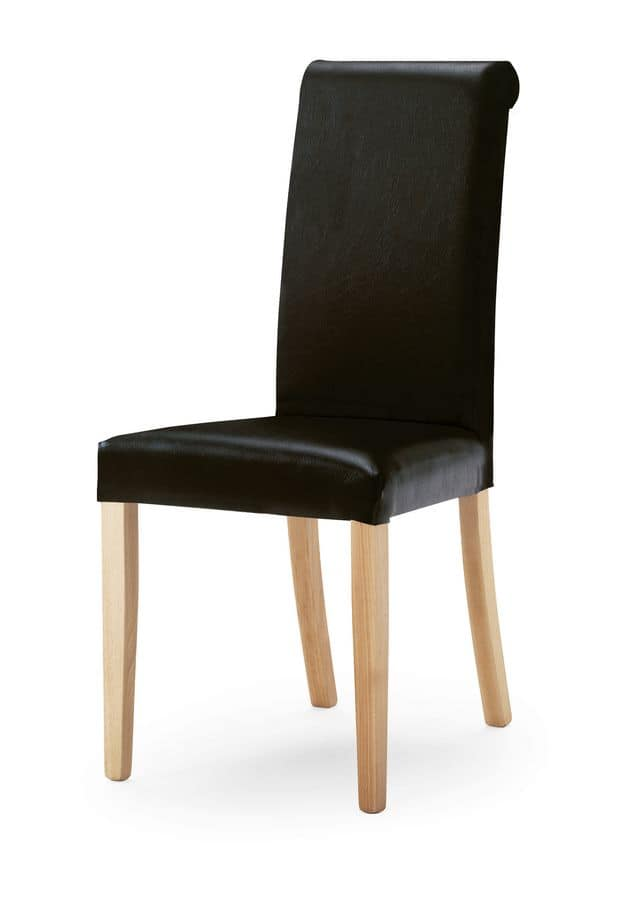 0320/R, Upholstered chair with tall backrest, legs in wood