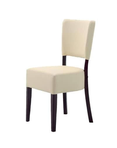 301, Minimalist chair in wood, padded, for restaurants