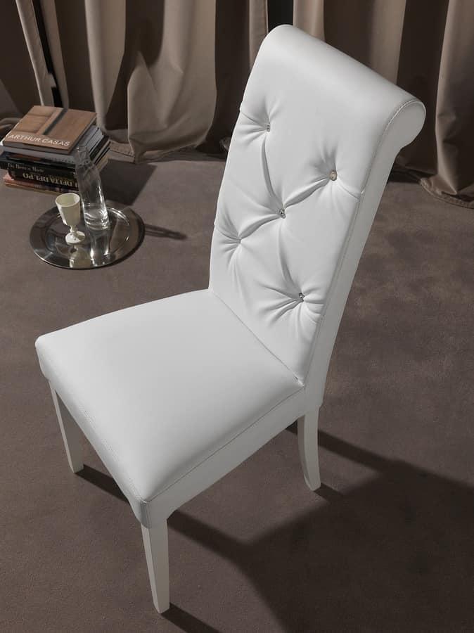 Elegant chair for dining room, backrest tufted IDFdesign