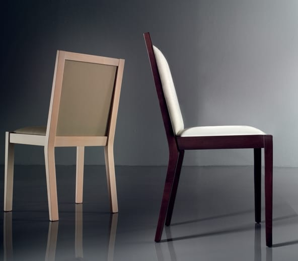 ART. 191 LUNA, Comfortable padded chair, in beech, for casino
