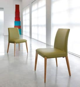 ART. 253 INES, Wooden chair, upholstered in leather or fabric