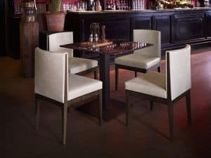 Contour chair, Chair in ash wood, upholstered seat and back, for restaurant