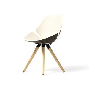 Eon wood frame, Chair with padded and colorful shell, for office and home