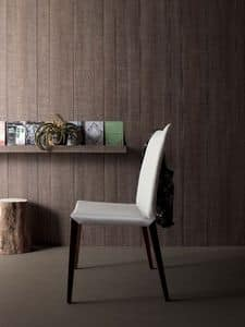 Flora, Modern chair in walnut and leather, various finishes, for kitchen