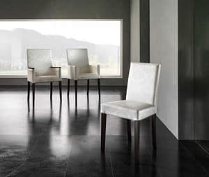 Picture of JACQUELINE chair 8601S, padded classic chair with wood legs