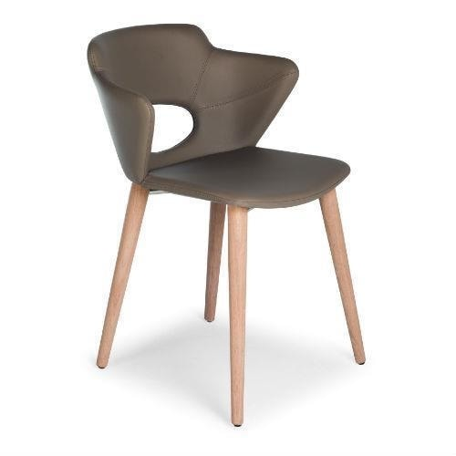 Marala W, Wooden chair with upholstered body, leather covering