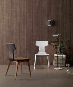 Monika, Modern chair for dining room, upholstered, wooden