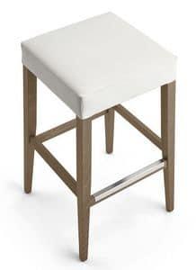 Kokò stool, Beech stool, upholstered seat, for bar and hotel