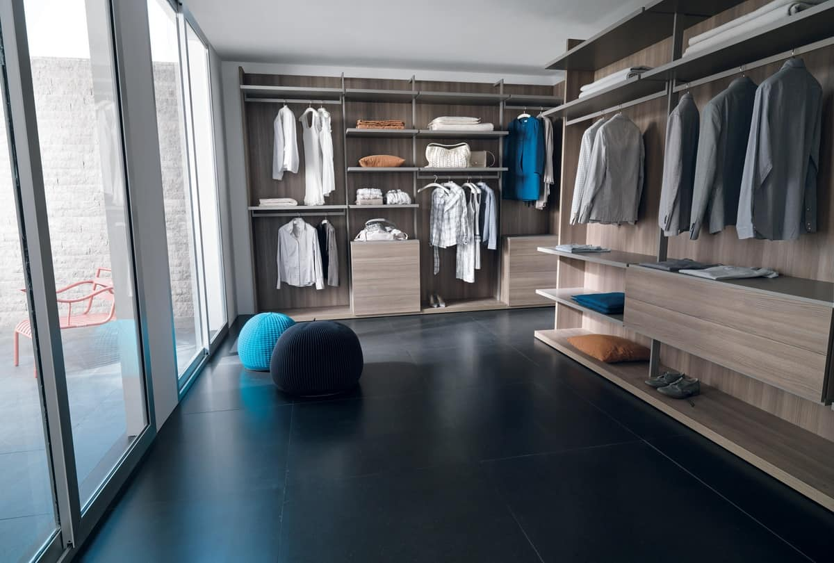 Walk In Closet With Thin Struts To Support The Accessories