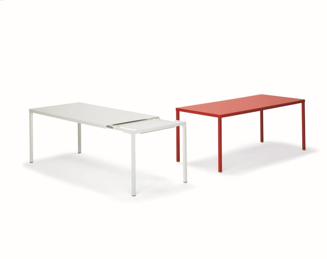 Scratchproof metal table extensible for minimal style for Table extensible aluminium