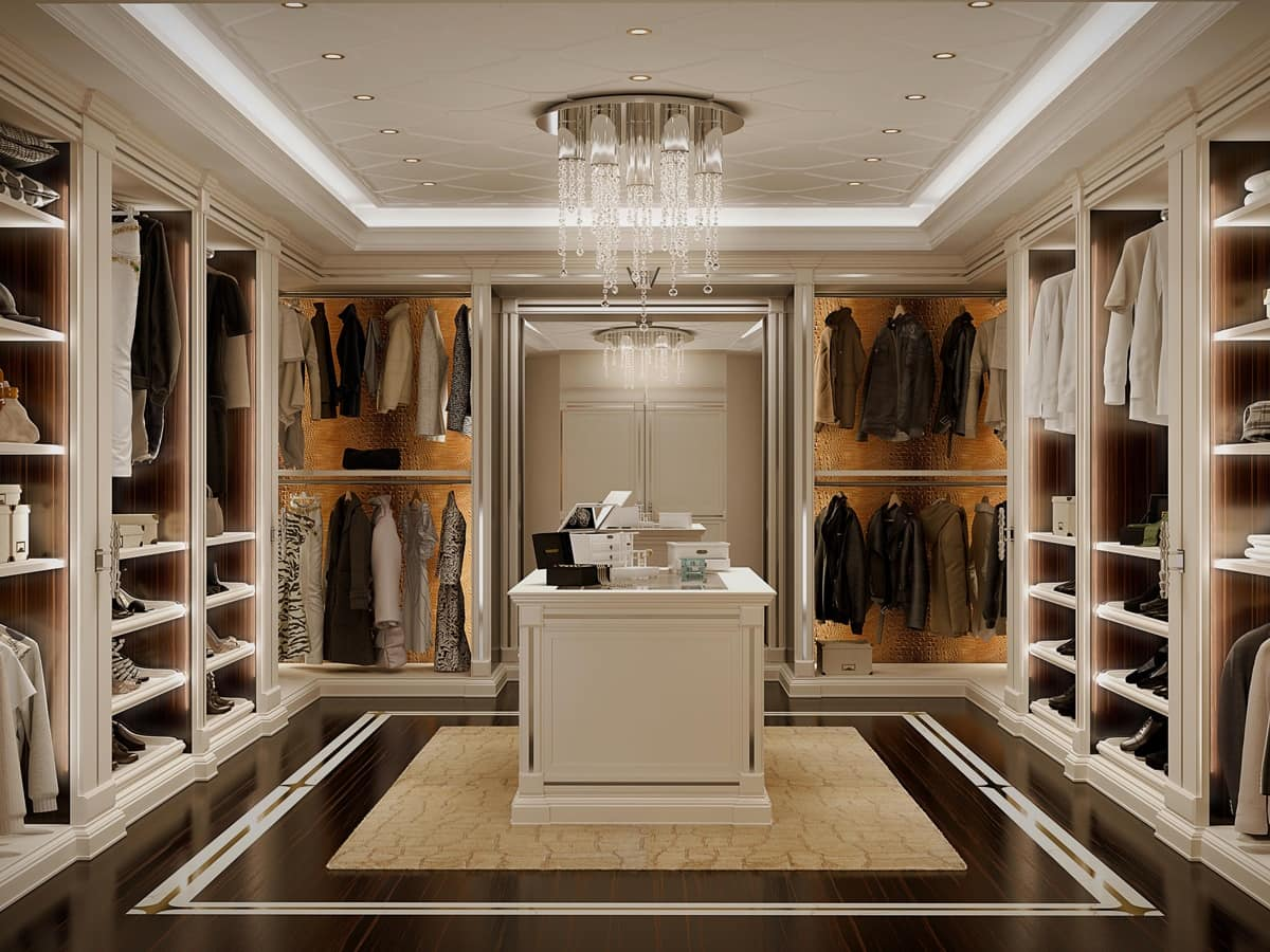 stylish walk in closet in white lacquered wood idfdesign
