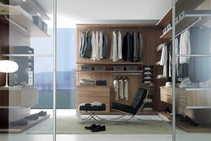 Nicchia - Walk-in closet melamine walnut canaletto, Walk-in closet with adjustable shelves and drawers