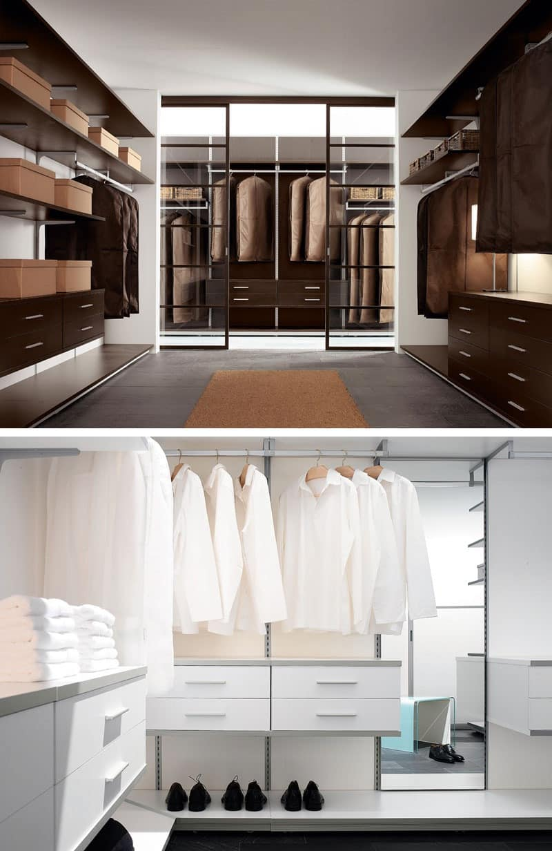 Walk In Closet With Shelves Drawers Lamps And Hangers