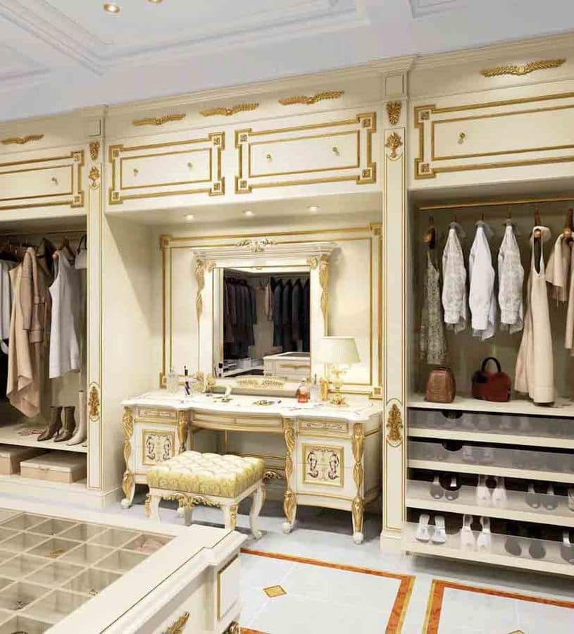 Vanity, Furniture For Wardrobe White Coloured With Gold Decorations