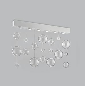 BOLERO H 70, Rectangular ceiling lamp with blown glass spheres