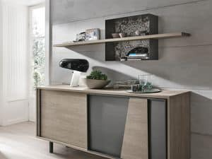 MODUS ML500, Laminate shelf with decorated metal structure