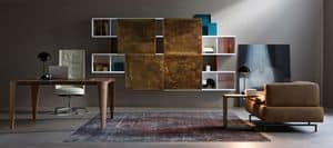 Aliante, System of shelves and hanging units for office and living rooms