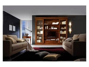 Art.0777/L, Fitted wall made of wood for living rooms, classic style