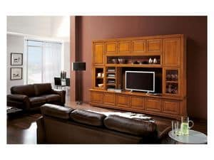 Art.112, Bookcase in solid wood with TV-stand, luxury classic style