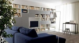 Citylife 38, Modern composition for living rooms, with bookshelves and cabinets