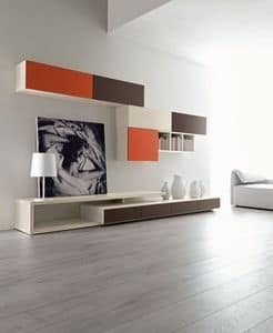 Citylife 43, Modern composition for living room, with wall units