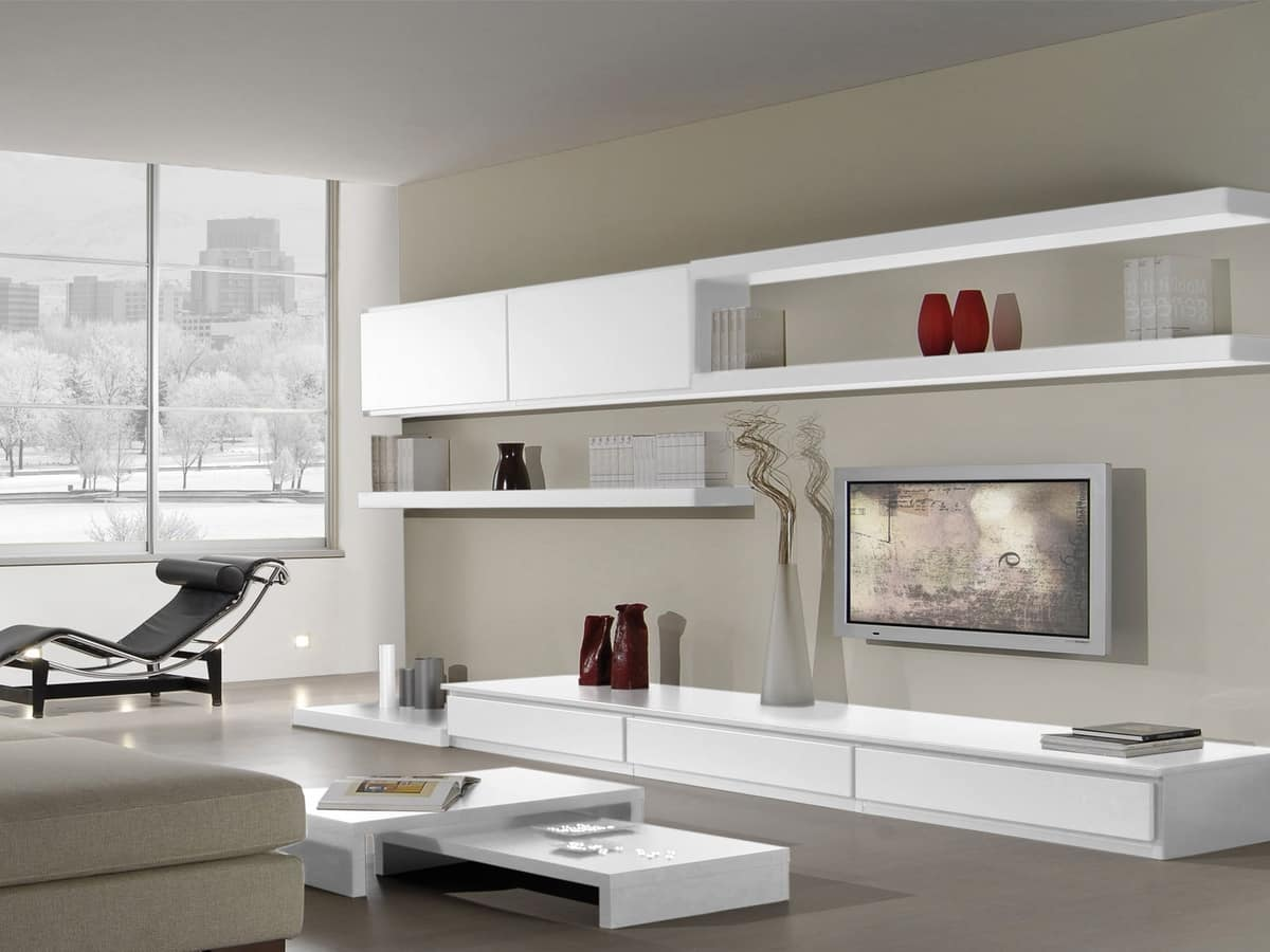 Modular systems for living room, with bookshelves and cabinets  IDFdesign