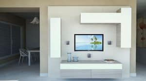 DayWall 102, Living room furniture with wall units in white lacquered