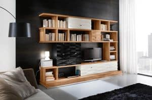 Diamante Art. D21, Modular furniture lacquered, with bookshelves and cabinets