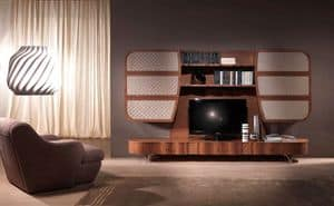 LB28a Mistral Wall, Multifunctional mobile in wood, for modern living rooms
