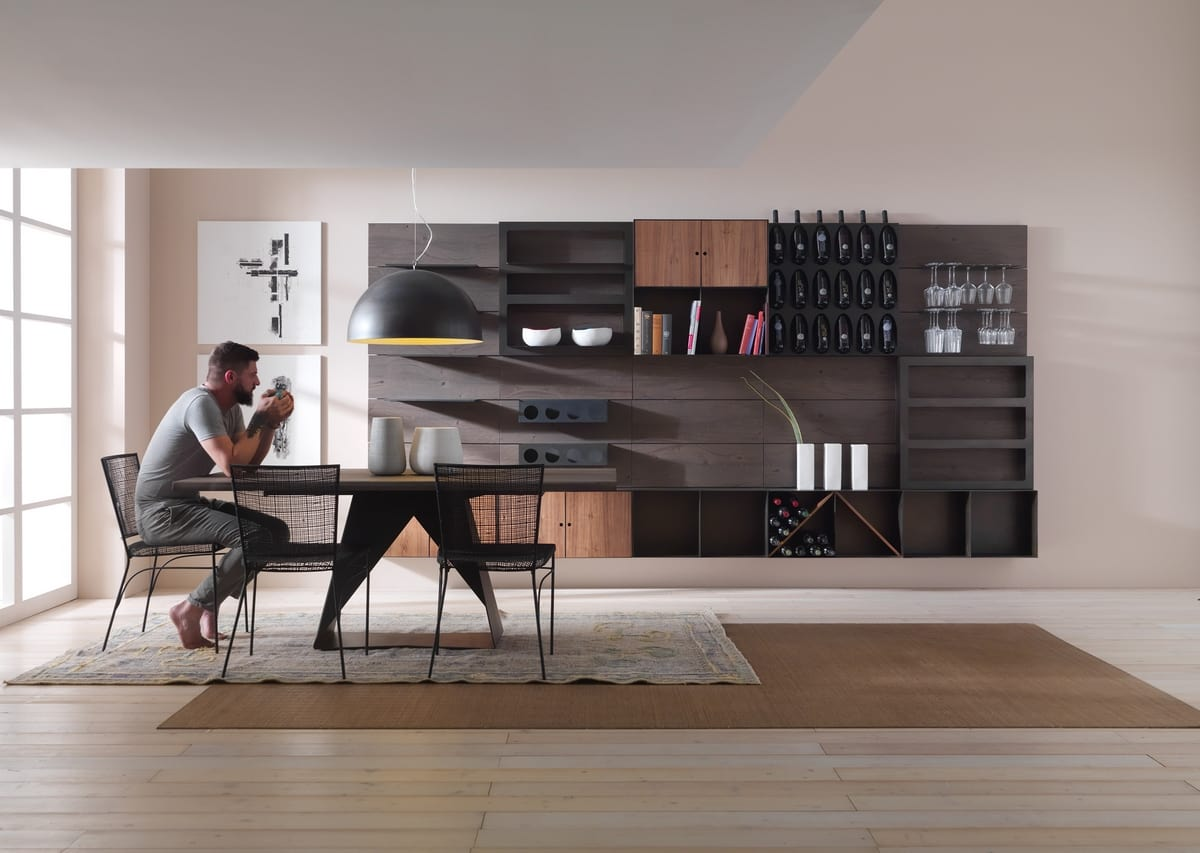 Modulo, Modular furniture, with bottle holder elements