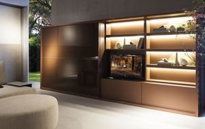 Oikos wall element, Living room system, with wardrobe, library and TV box