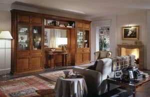 R 03, Classic furniture for living room with display cabinet and mirror