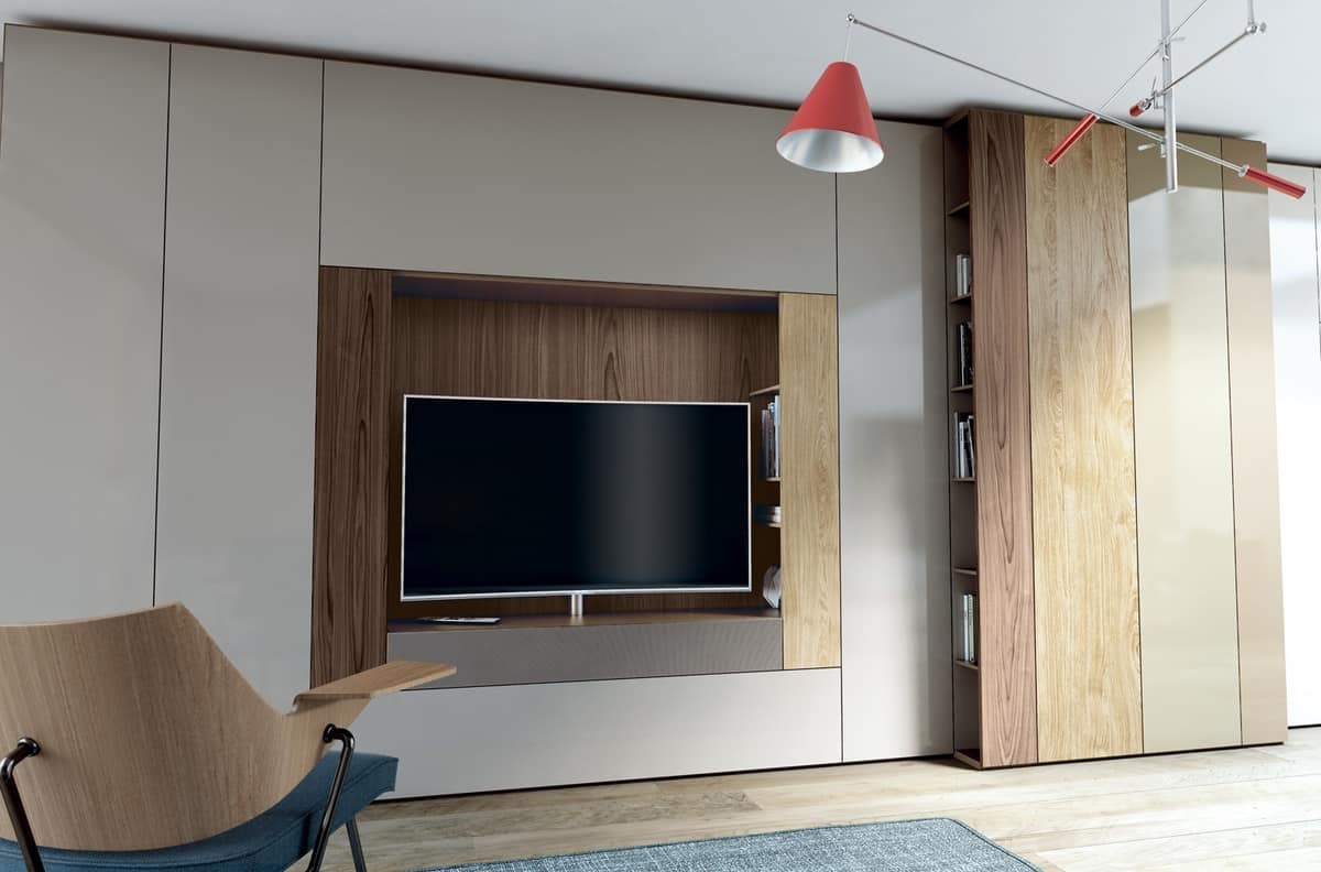 Modular System For Living Room With Tv Stand And Bookcase