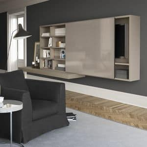 Spazioteca SP015, Modular system for living room in wood, with hi-fi
