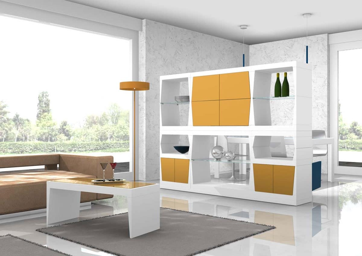 Partition mobile with glass shelves and doors idfdesign for Mobili tinello