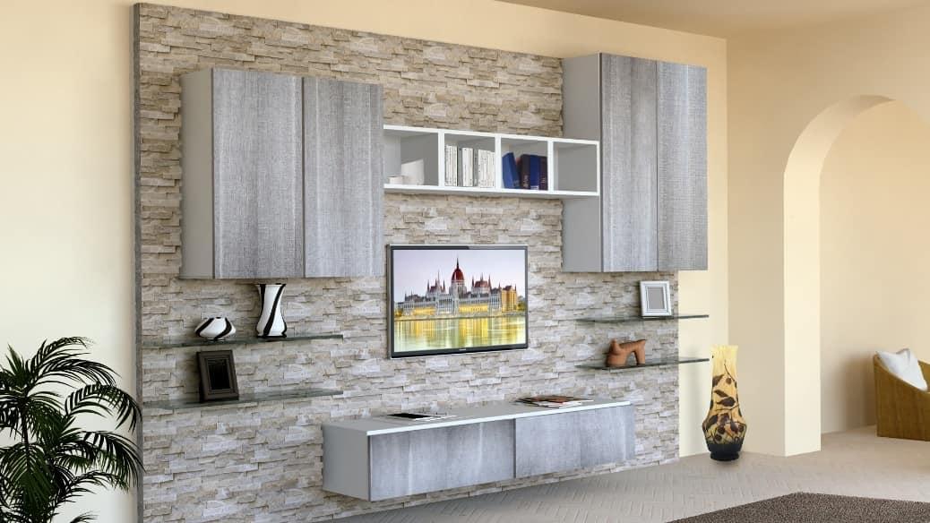 Living room furniture with stone clad wall idfdesign for Mobili per la sala moderni