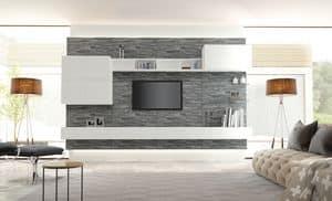 Venezia 01, Wainscoting living room furniture, covered in rock