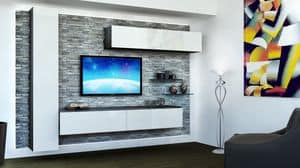 Venezia 10, Furniture for living room, with rock paneling, white lacquered hanging cabinets