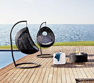Altea swing nest, Suspended armchair, weaving with floral motif, for outdoors