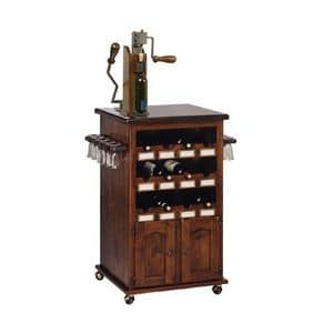Art. 345, Bottle rack and cup holders furniture, with wheel, for wine bar