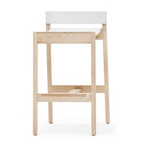 Maki 03784/03785, Wooden stool with stainless steel footstool