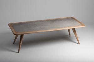 Vertigo dining table, Natural wood table with porcelain stoneware top
