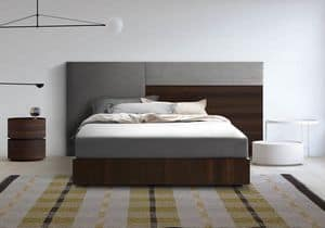 Boiserie comp.04, Upholstered and wooden headboard, for modern rooms