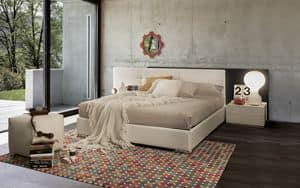Double Face bed, Design bed in padded wood, with lights