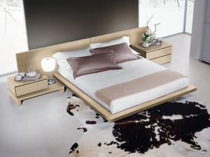 Bed Design 03, Bed with headboard and bed frame in wood