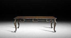 Art. 813/N table, Extendable table with black finish with antique silver leaf